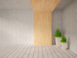 grey empty interior with a wooden wall and green plants
