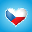 Heart shape flag of Czech Republic with lace
