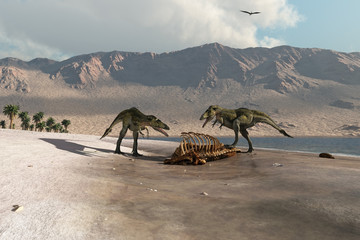 Dinosaurs foraging on the beach