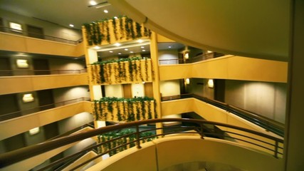 Spiral staircase in multiple floor hotel