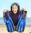 Girl wearing diving gear.