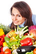 Woman with group of fruit and vegetables.