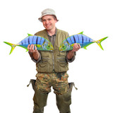 The Fisherman with big fishes. Success concept.