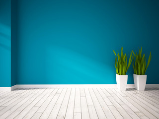 blue empty interior with green plants in white vases