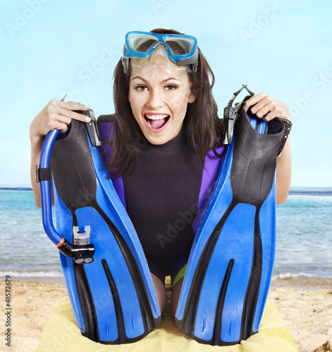 Girl wearing diving gear.
