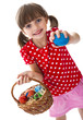lttle girl with easter eggs