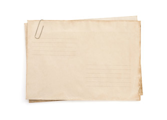 old vintage envelope  on white