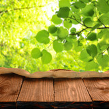 Empty wooden table for your photo montage