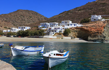 Fishing boats at the coast of Folegandros, Greece