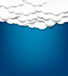 White paper clouds over blue background.