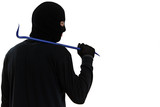 thief burglar with metal crowbar
