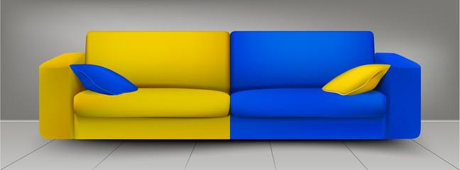 Yellow blue sofa