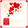 Red paper shopping bag with flying hearts vector card template