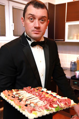 Waiter with appetizer