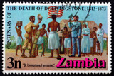 Postage stamp Zambia 1973 Stanley and Livingstone at Ujiji