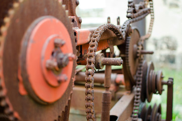 Rusty machinery parts - shallow depth of field