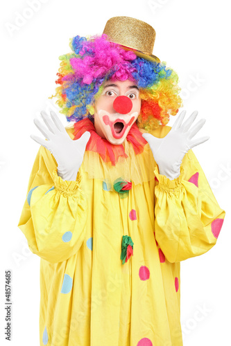 Funny clown gesturing with hands