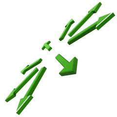 Green arrows explosion