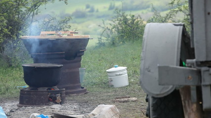 Field kitchen in use