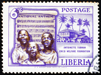 Postage stamp Liberia 1957 Singing Boys and National Anthem