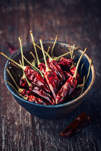 Dried chili peppers in a ceramic dish