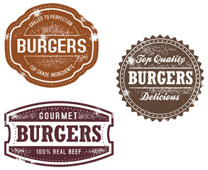 Vintage Style Burger Stamps