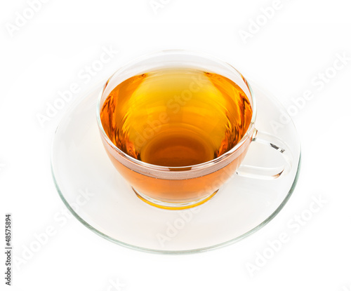 A cup of hot tea on white background