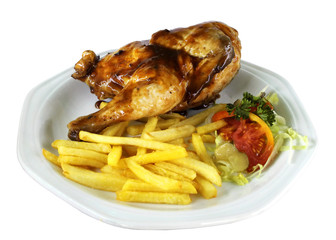 Isolated Half Chicken and Fries