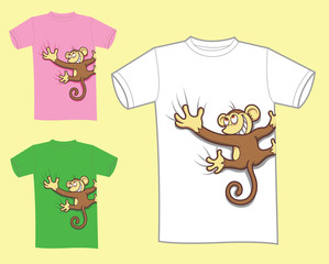 Monkey cartoon t-shirt design vector