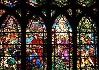 Feeding 5000 men and their families, stained glass