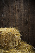 Bale of straw and wooden background
