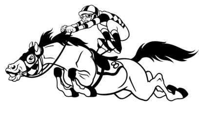 racing horse with jockey black white