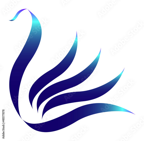Drawn stylized blue swan logo