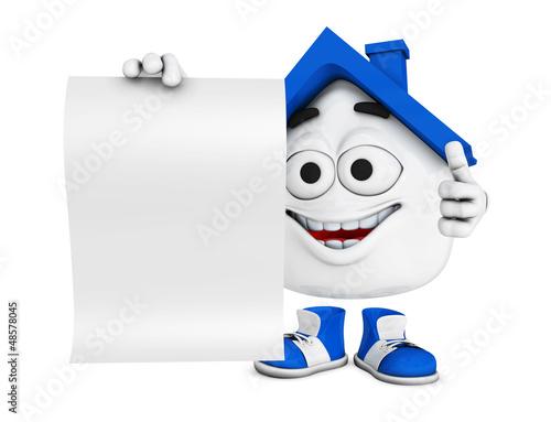 Kleines 3D Haus Blau mit blanko Schild
