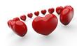 Rote 3D Herzen im Kreis 2