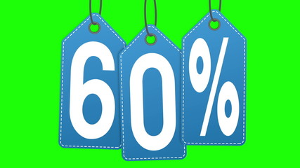 Labels discount of 60% and 70% on a green background screen.