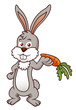 illustration of Cartoon rabbit holding a carrot