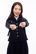 Young pretty Asian student indicate you