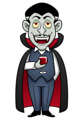 illustration of Cartoon Count Dracula with glass of blood