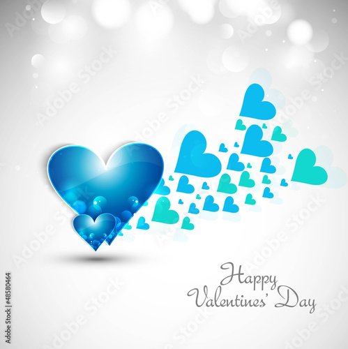 Blue Valentines day hearts fantastic love whit background