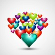 Rainbow colorful valentines day hearts love design vector