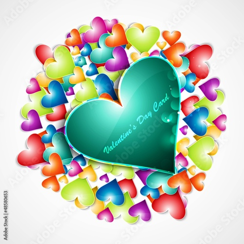 Rainbow colorful valentines day hearts love card vector illustra