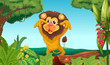King lion in the woods