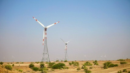 Wind power generators in Indian desert