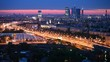 Business center Moscow City stands against city landscape
