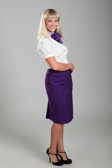 young girl in stewardess uniform