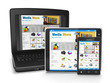 The group of mobile technology media store. Tablet PC, laptop an