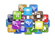 Group of mobile applications in the form of icons drawn in the c