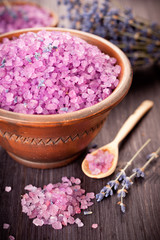 Lavender and sea salt in a rustic style