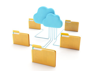 Cloud technologies. Group of computer folders connected to the c